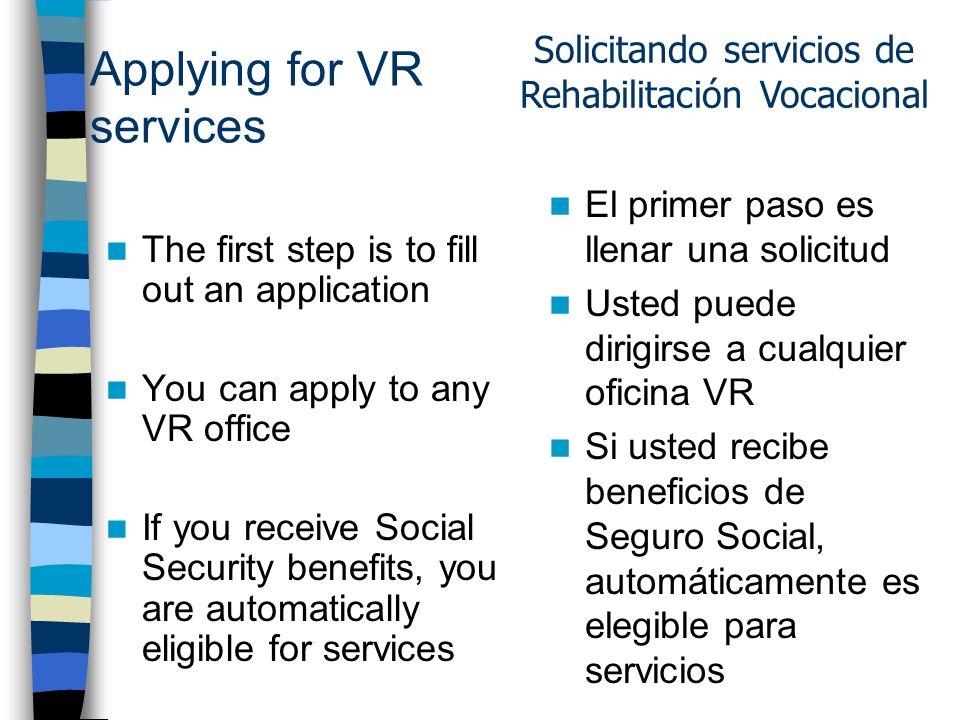 Vocational Rehabilitation (VR) VR provides services to individuals with disabilities who want to: Go to work Keep a job Return to work VR proporciona servicios a individuos con discapacidades que desean: Ir a trabajar Mantener un trabajo Volver a trabajar Rehabilitación Vocacional (VR)