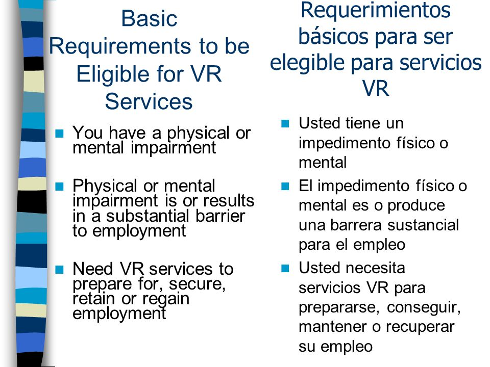 Basic Requirements to be Eligible for VR Services You have a physical or mental impairment Physical or mental impairment is or results in a substantial barrier to employment Need VR services to prepare for, secure, retain or regain employment Usted tiene un impedimento físico o mental El impedimento físico o mental es o produce una barrera sustancial para el empleo Usted necesita servicios VR para prepararse, conseguir, mantener o recuperar su empleo Requerimientos básicos para ser elegible para servicios VR