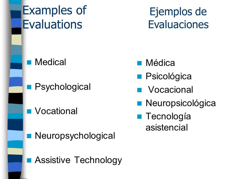 Examples of Evaluations Medical Psychological Vocational Neuropsychological Assistive Technology Médica Psicológica Vocacional Neuropsicológica Tecnología asistencial Ejemplos de Evaluaciones