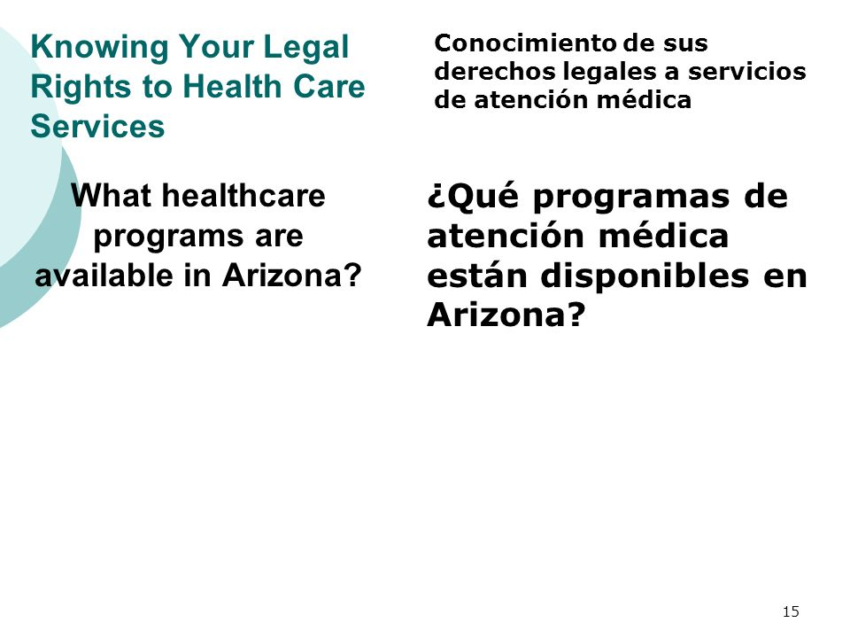 Knowing Your Legal Rights to Health Care Services What healthcare programs are available in Arizona.