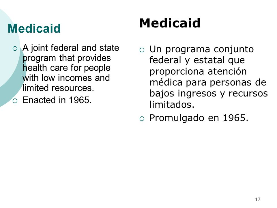 Medicaid A joint federal and state program that provides health care for people with low incomes and limited resources.