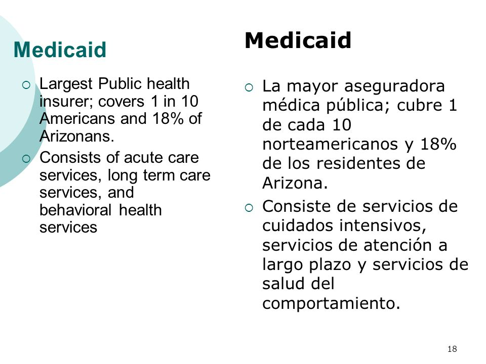 Largest Public health insurer; covers 1 in 10 Americans and 18% of Arizonans.