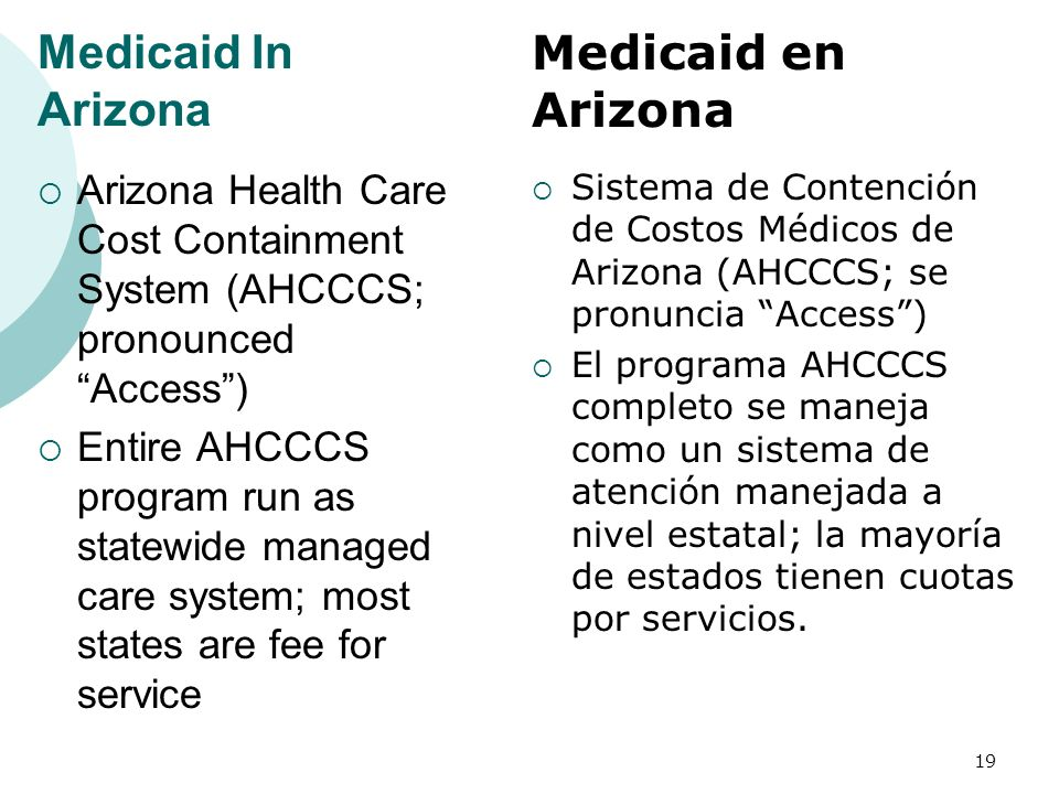 Medicaid In Arizona Arizona Health Care Cost Containment System (AHCCCS; pronounced Access) Entire AHCCCS program run as statewide managed care system; most states are fee for service Sistema de Contención de Costos Médicos de Arizona (AHCCCS; se pronuncia Access) El programa AHCCCS completo se maneja como un sistema de atención manejada a nivel estatal; la mayoría de estados tienen cuotas por servicios.