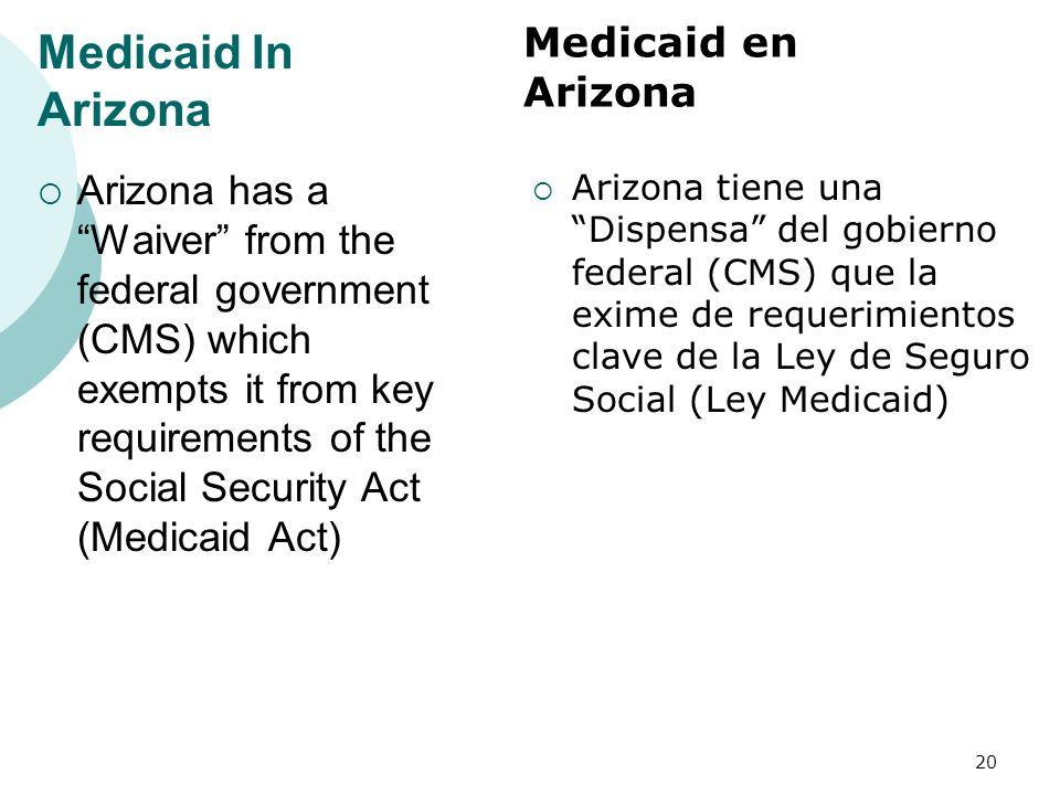 Medicaid In Arizona Arizona has a Waiver from the federal government (CMS) which exempts it from key requirements of the Social Security Act (Medicaid Act) Arizona tiene una Dispensa del gobierno federal (CMS) que la exime de requerimientos clave de la Ley de Seguro Social (Ley Medicaid) 20 Medicaid en Arizona