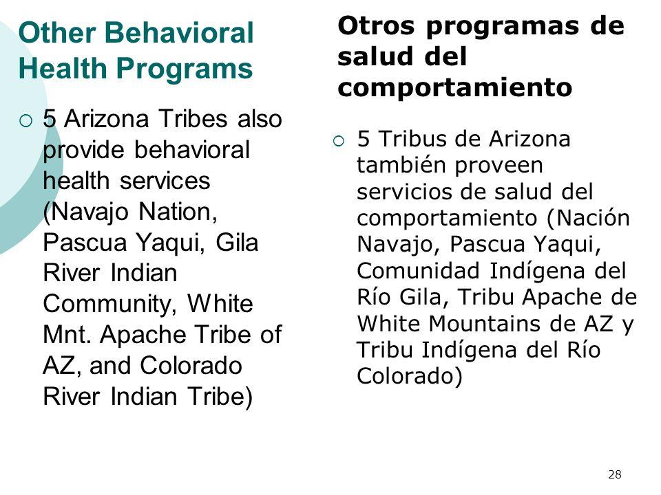Other Behavioral Health Programs 5 Arizona Tribes also provide behavioral health services (Navajo Nation, Pascua Yaqui, Gila River Indian Community, W