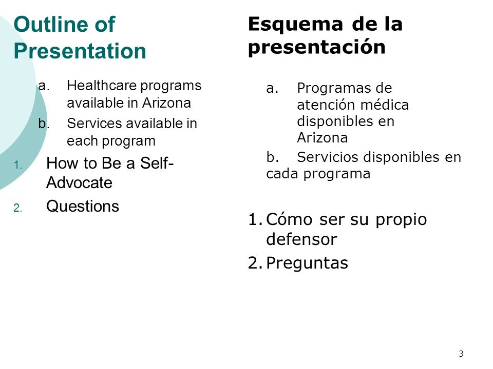 Outline of Presentation a.Healthcare programs available in Arizona b.Services available in each program 1.