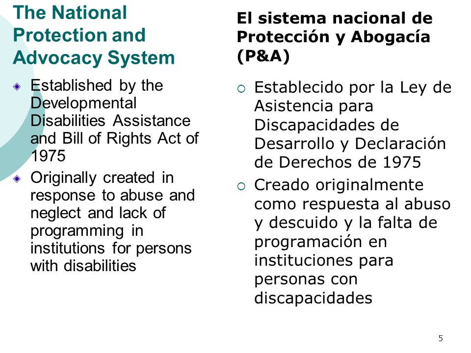 The National Protection and Advocacy System Established by the Developmental Disabilities Assistance and Bill of Rights Act of 1975 Originally created
