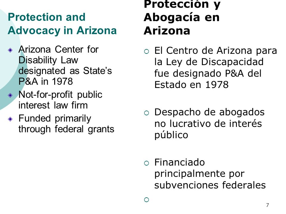 Protection and Advocacy in Arizona Arizona Center for Disability Law designated as States P&A in 1978 Not-for-profit public interest law firm Funded p