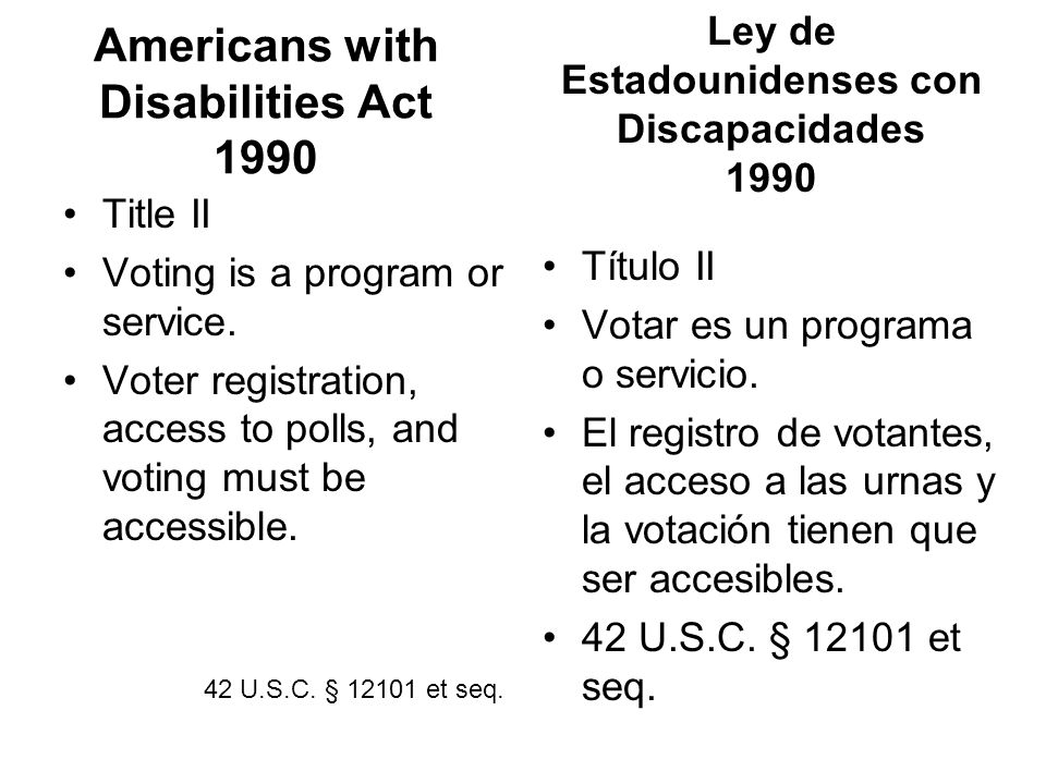 Americans with Disabilities Act 1990 Title II Voting is a program or service.