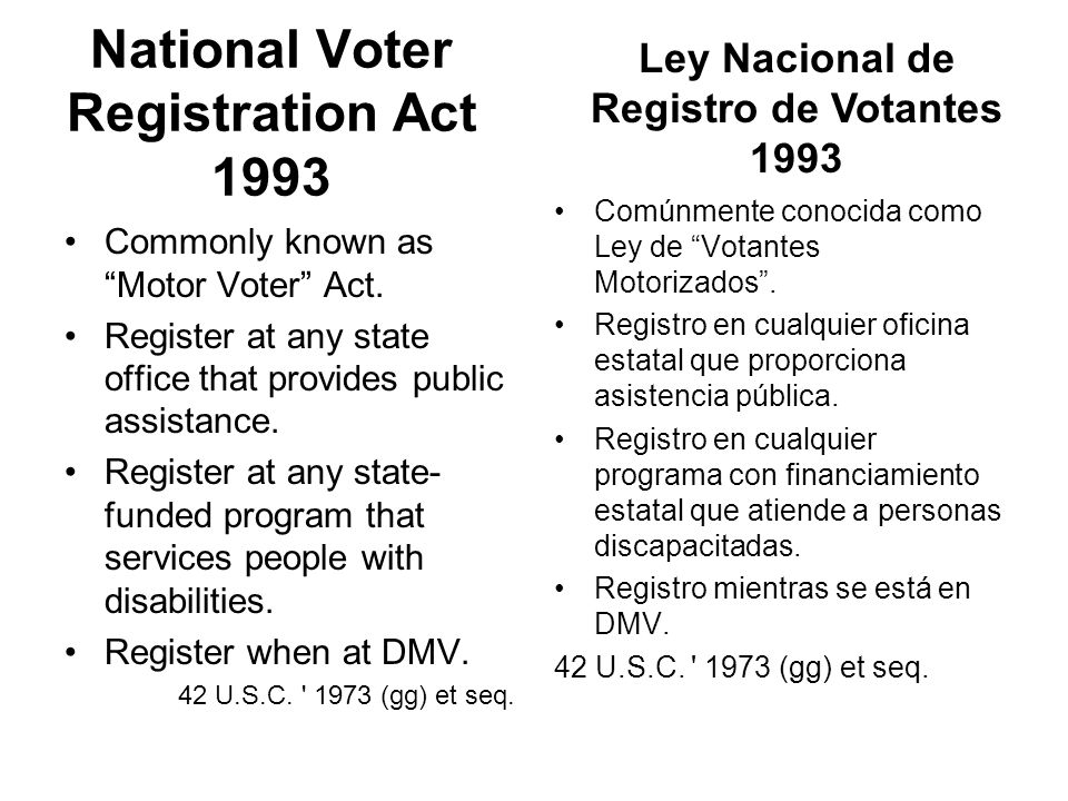 National Voter Registration Act 1993 Commonly known as Motor Voter Act.