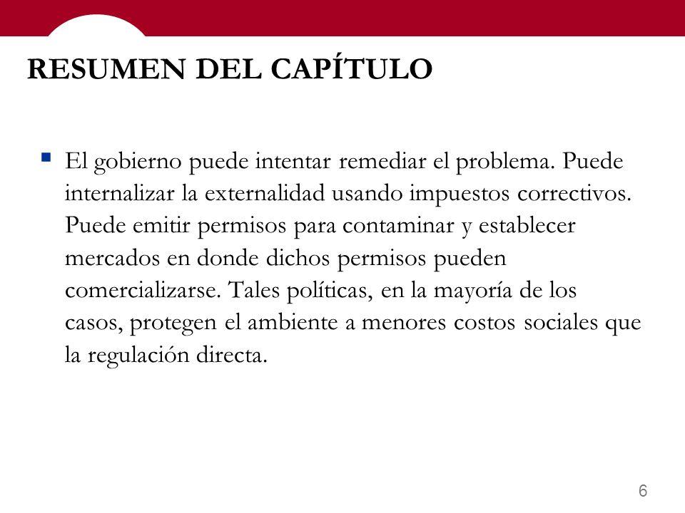 6 RESUMEN DEL CAPÍTULO El gobierno puede intentar remediar el problema.