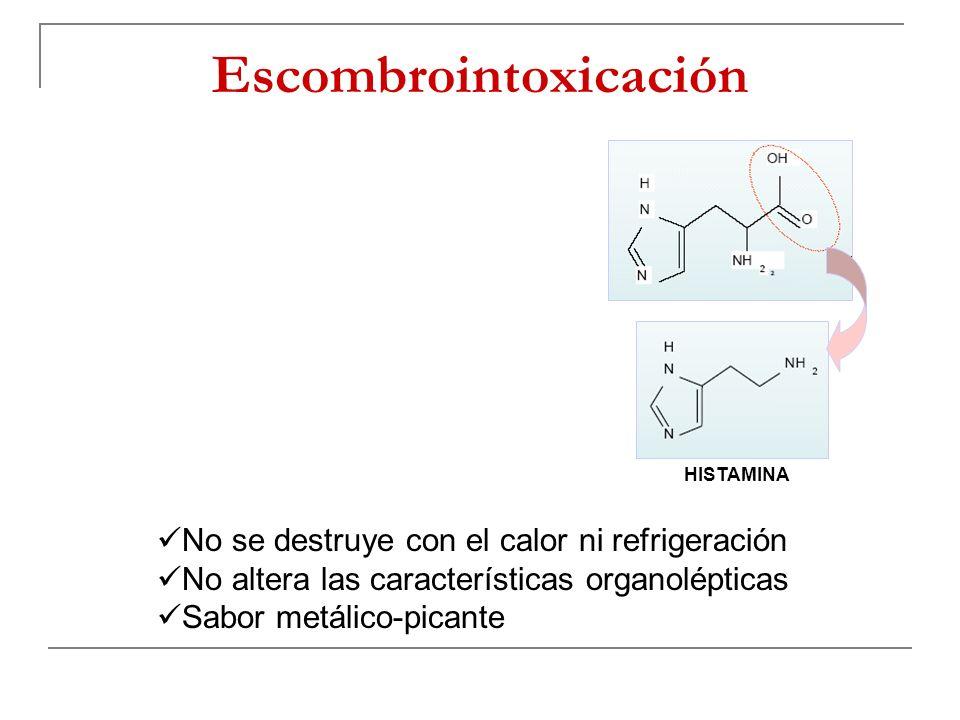 Escombrointoxicación HISTAMINA No se destruye con el calor ni refrigeración No altera las características organolépticas Sabor metálico-picante