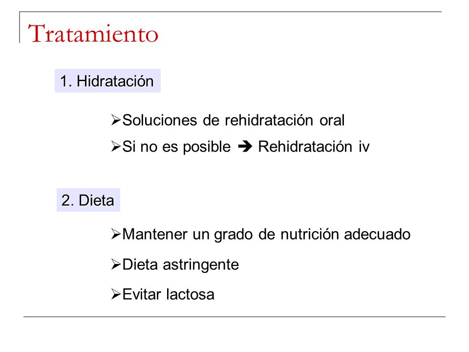 Tratamiento 1. Hidratación 2. Dieta Soluciones de rehidratación oral Si no es posible Rehidratación iv Mantener un grado de nutrición adecuado Dieta a