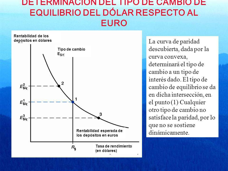 DETERMINACIÓN DEL TIPO DE CAMBIO DE EQUILIBRIO DEL DÓLAR RESPECTO AL EURO Tipo de cambio E $/ Rentabilidad de los depósitos en dólares Rentabilidad es