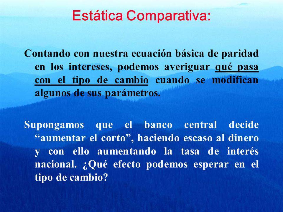 Estática Comparativa: Contando con nuestra ecuación básica de paridad en los intereses, podemos averiguar qué pasa con el tipo de cambio cuando se mod