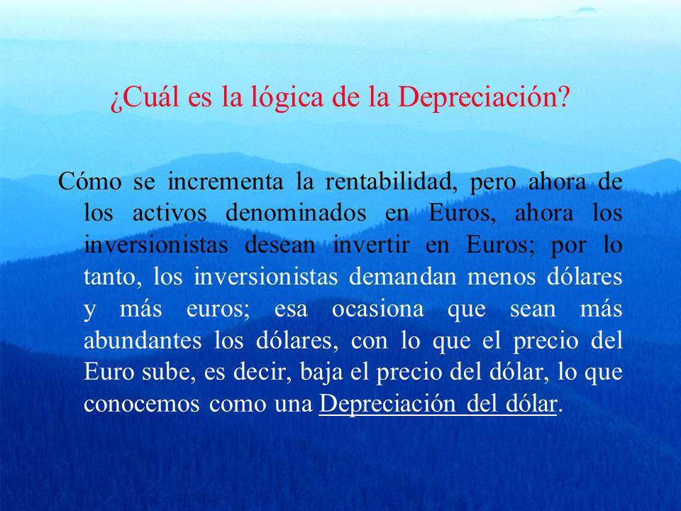 ¿Cuál es la lógica de la Depreciación? Cómo se incrementa la rentabilidad, pero ahora de los activos denominados en Euros, ahora los inversionistas de