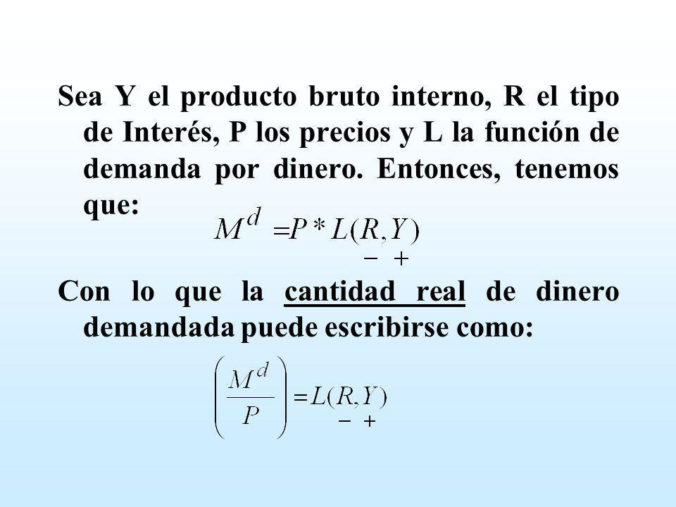 Sea Y el producto bruto interno, R el tipo de Interés, P los precios y L la función de demanda por dinero. Entonces, tenemos que: Con lo que la cantid