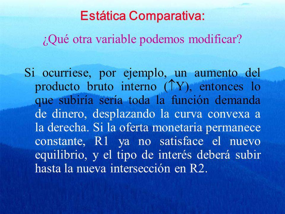 Estática Comparativa: ¿Qué otra variable podemos modificar? Si ocurriese, por ejemplo, un aumento del producto bruto interno ( Y), entonces lo que sub