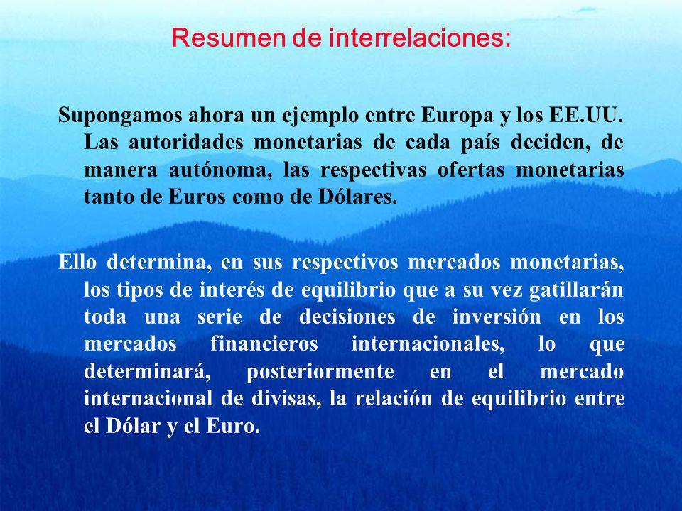 Resumen de interrelaciones: Supongamos ahora un ejemplo entre Europa y los EE.UU. Las autoridades monetarias de cada país deciden, de manera autónoma,