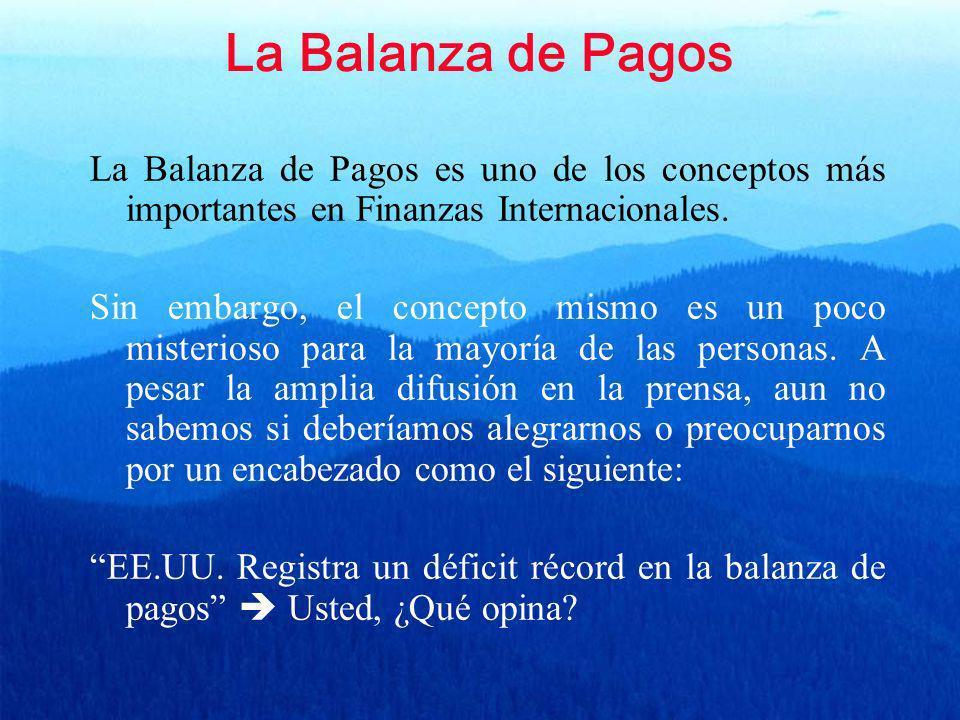 La Balanza de Pagos La Balanza de Pagos es uno de los conceptos más importantes en Finanzas Internacionales. Sin embargo, el concepto mismo es un poco