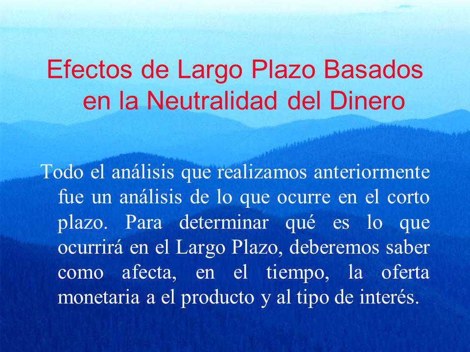 Efectos de Largo Plazo Basados en la Neutralidad del Dinero Todo el análisis que realizamos anteriormente fue un análisis de lo que ocurre en el corto