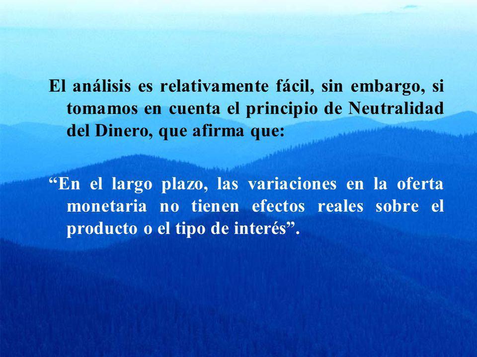 El análisis es relativamente fácil, sin embargo, si tomamos en cuenta el principio de Neutralidad del Dinero, que afirma que: En el largo plazo, las v