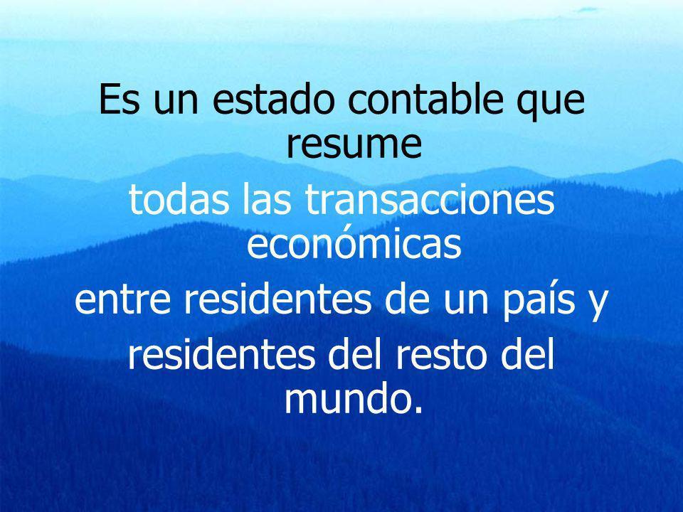 Es un estado contable que resume todas las transacciones económicas entre residentes de un país y residentes del resto del mundo.