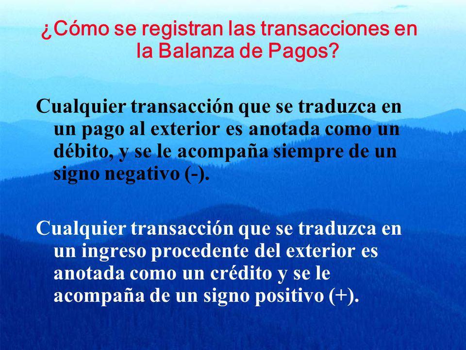 ¿Cómo se registran las transacciones en la Balanza de Pagos? Cualquier transacción que se traduzca en un pago al exterior es anotada como un débito, y