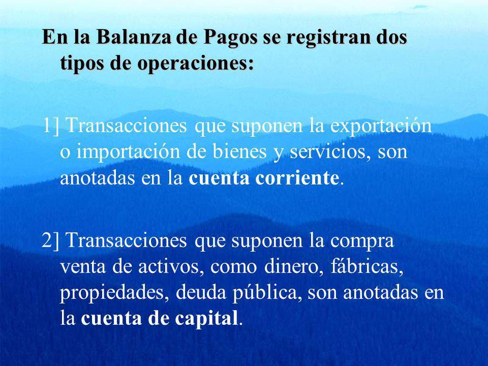 En la Balanza de Pagos se registran dos tipos de operaciones: 1] Transacciones que suponen la exportación o importación de bienes y servicios, son ano