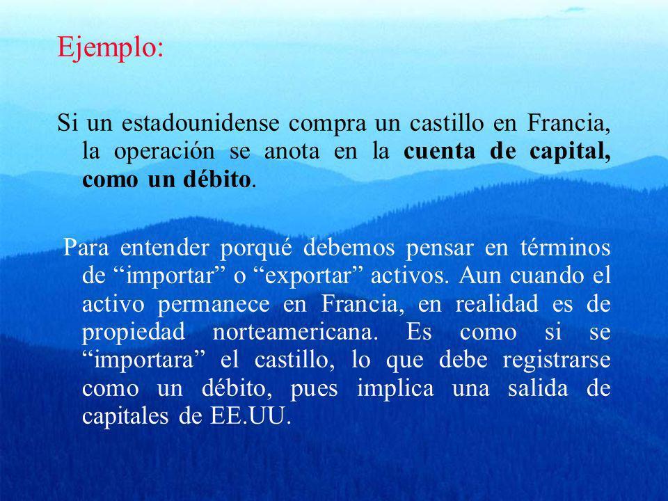 Ejemplo: Si un estadounidense compra un castillo en Francia, la operación se anota en la cuenta de capital, como un débito. Para entender porqué debem