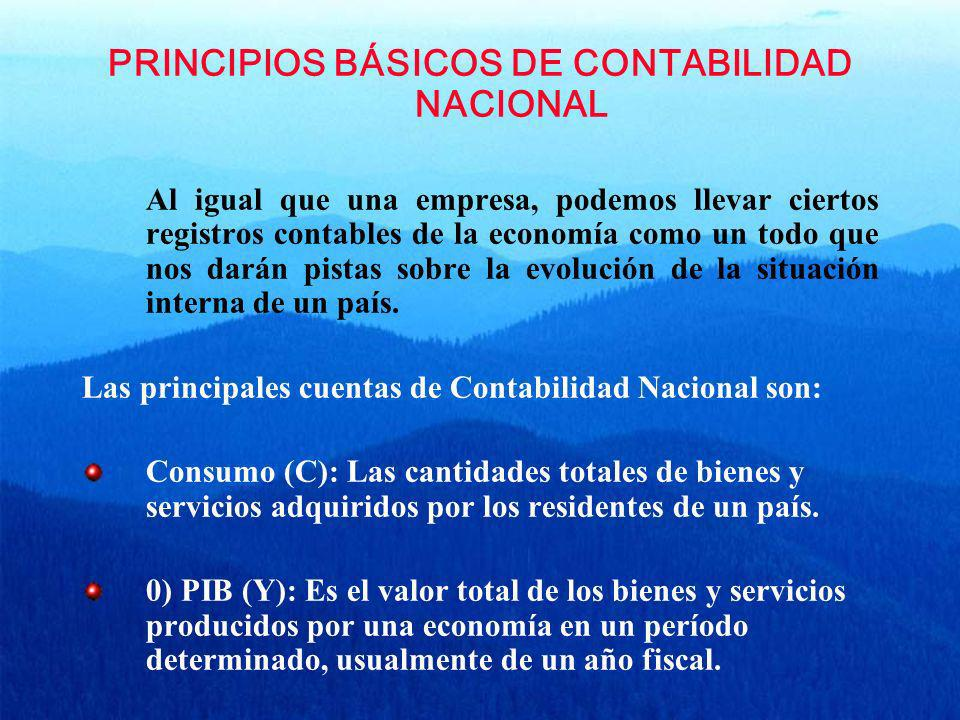 PRINCIPIOS BÁSICOS DE CONTABILIDAD NACIONAL Al igual que una empresa, podemos llevar ciertos registros contables de la economía como un todo que nos d