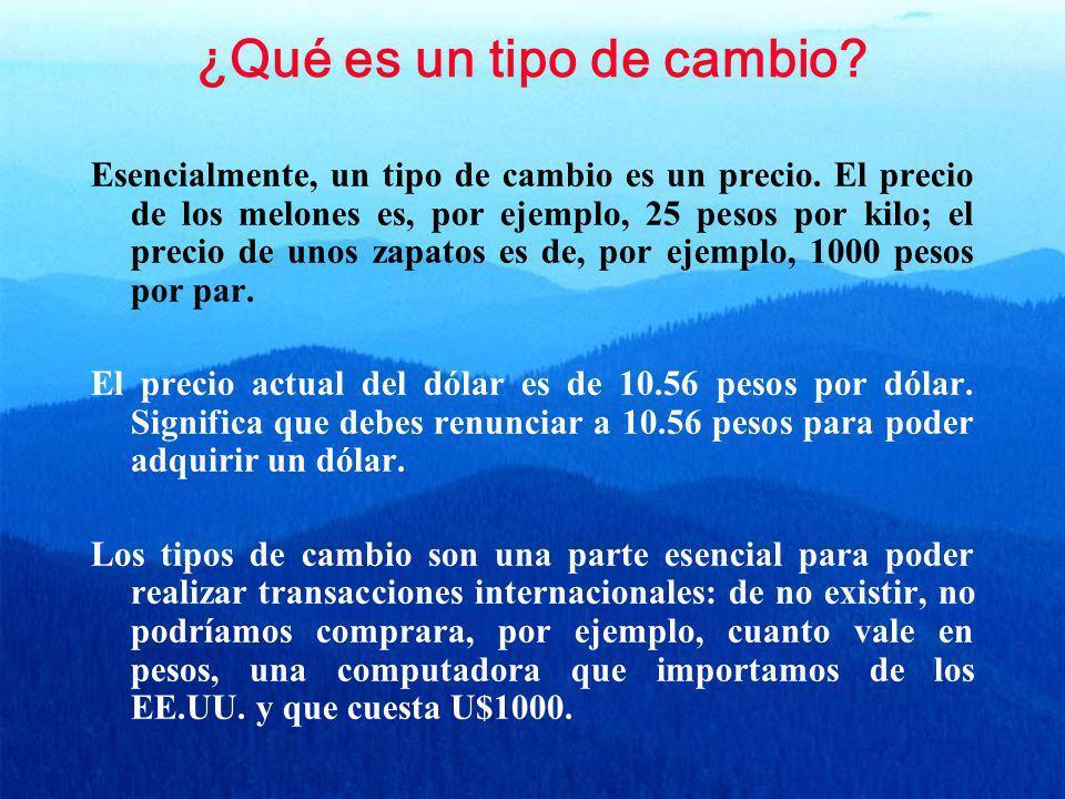 ¿Qué es un tipo de cambio? Esencialmente, un tipo de cambio es un precio. El precio de los melones es, por ejemplo, 25 pesos por kilo; el precio de un