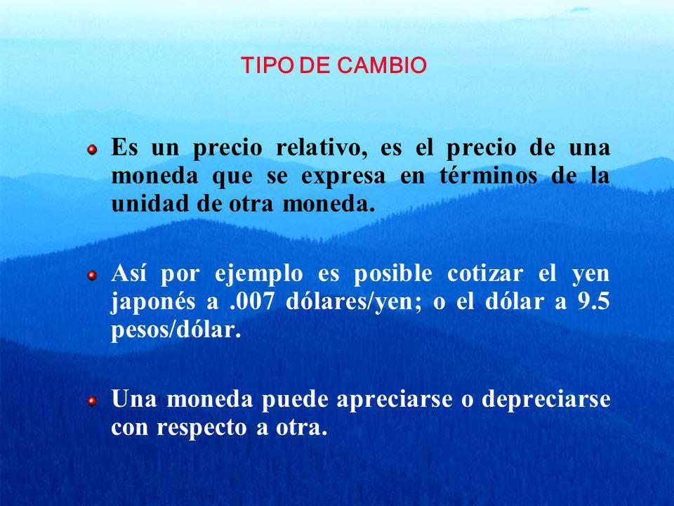 TIPO DE CAMBIO Es un precio relativo, es el precio de una moneda que se expresa en términos de la unidad de otra moneda. Así por ejemplo es posible co