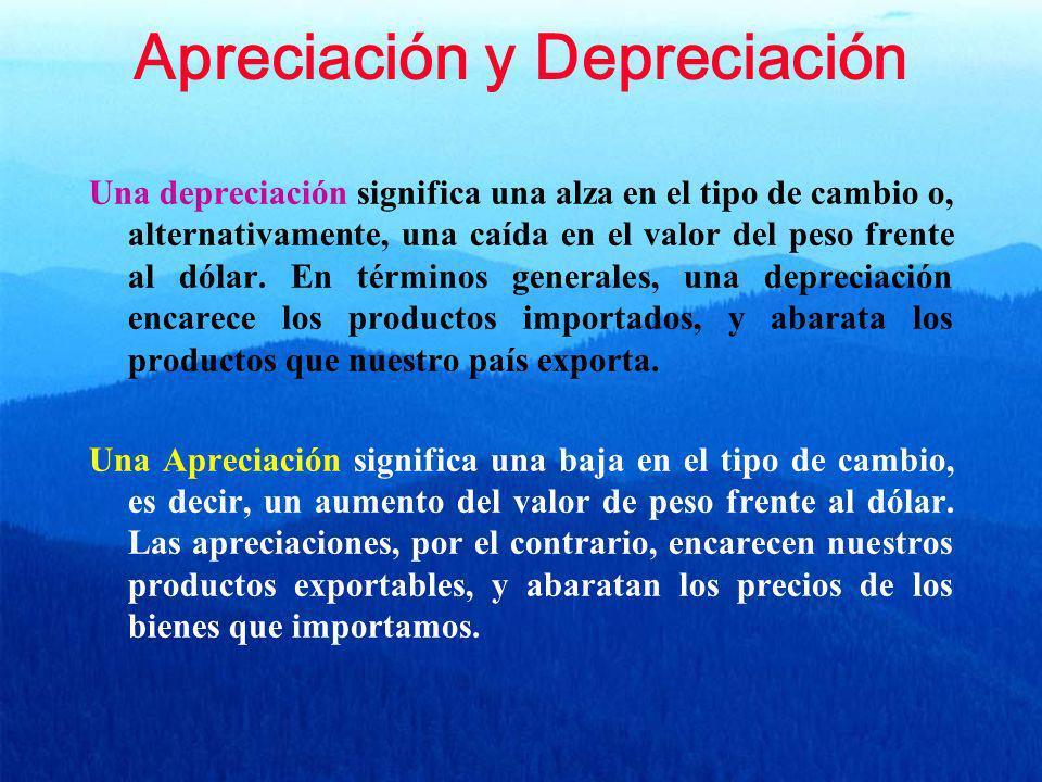 Apreciación y Depreciación Una depreciación significa una alza en el tipo de cambio o, alternativamente, una caída en el valor del peso frente al dóla
