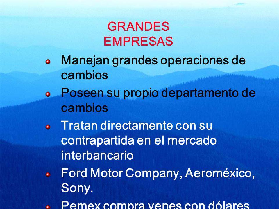 GRANDES EMPRESAS Manejan grandes operaciones de cambios Poseen su propio departamento de cambios Tratan directamente con su contrapartida en el mercad