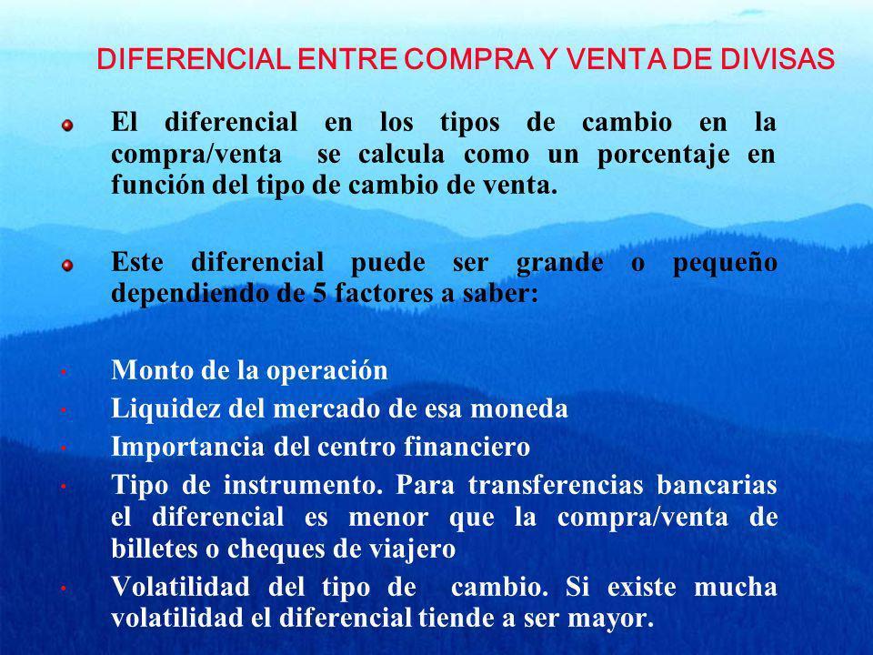 DIFERENCIAL ENTRE COMPRA Y VENTA DE DIVISAS El diferencial en los tipos de cambio en la compra/venta se calcula como un porcentaje en función del tipo