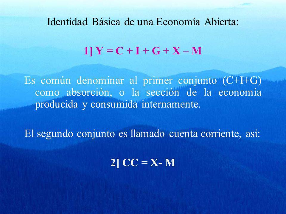 La identidad 1) y 2) implican también que la cuenta corriente es la diferencia entre el producto total y la absorción, así: 3] Y – (C + I + G) = CC Ahorro Nacional (S): Definimos al Ahorro como: 4] S = Y – C – G Por lo tanto y de acuerdo a 2), esto implica que en una economía nacional: 4´] S = I El ahorro es igual a la inversión.