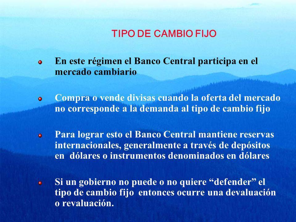 TIPO DE CAMBIO FIJO En este régimen el Banco Central participa en el mercado cambiario Compra o vende divisas cuando la oferta del mercado no correspo