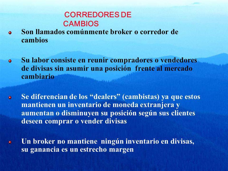 CORREDORES DE CAMBIOS Son llamados comúnmente broker o corredor de cambios Su labor consiste en reunir compradores o vendedores de divisas sin asumir