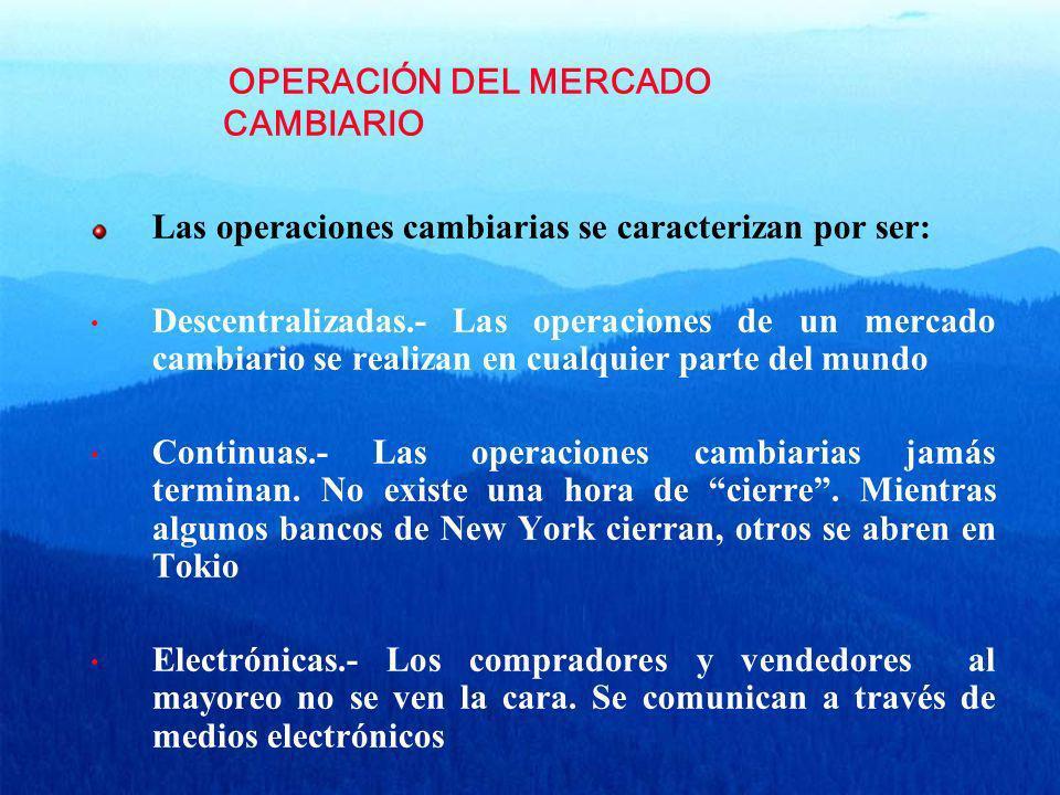 OPERACIÓN DEL MERCADO CAMBIARIO Las operaciones cambiarias se caracterizan por ser: Descentralizadas.- Las operaciones de un mercado cambiario se real