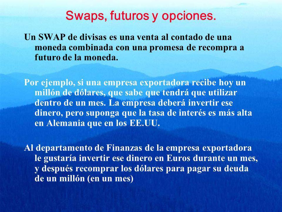 Swaps, futuros y opciones. Un SWAP de divisas es una venta al contado de una moneda combinada con una promesa de recompra a futuro de la moneda. Por e