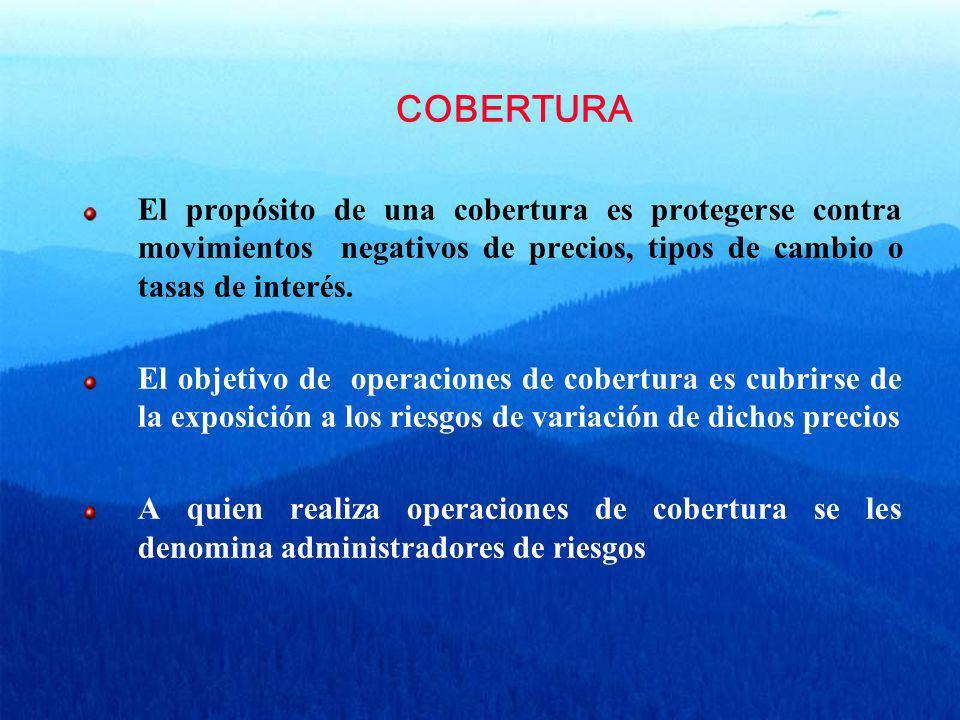 COBERTURA El propósito de una cobertura es protegerse contra movimientos negativos de precios, tipos de cambio o tasas de interés. El objetivo de oper