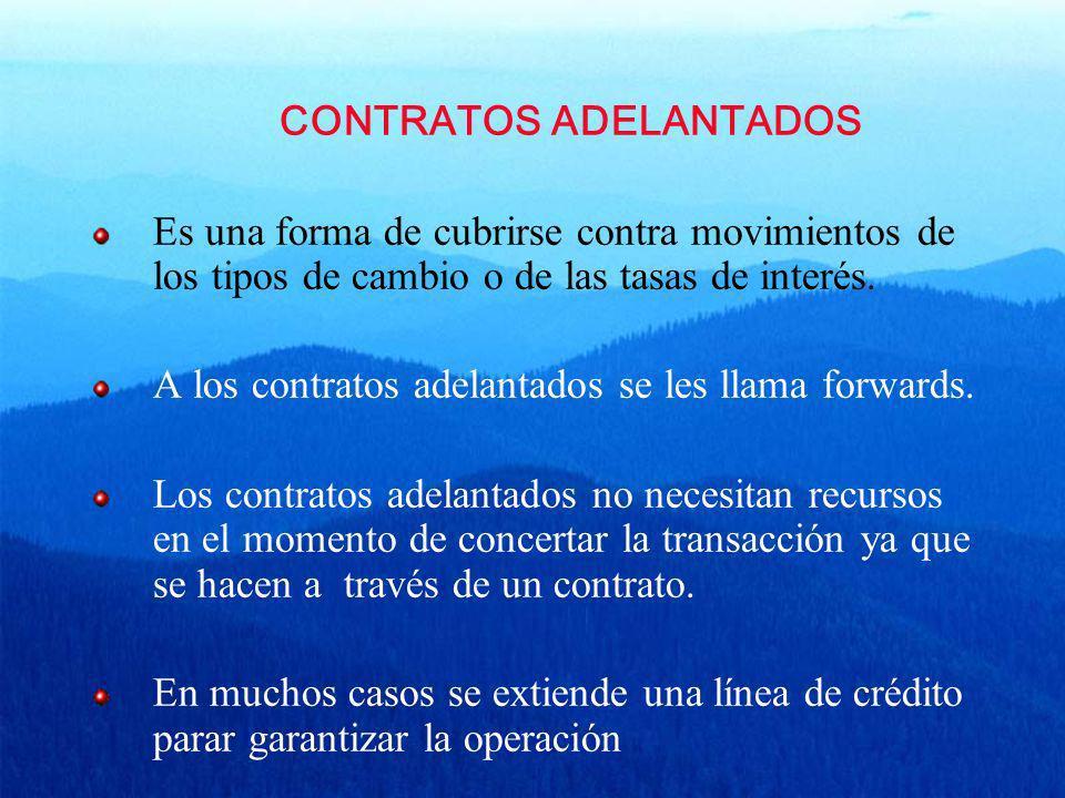 CONTRATOS ADELANTADOS Es una forma de cubrirse contra movimientos de los tipos de cambio o de las tasas de interés. A los contratos adelantados se les