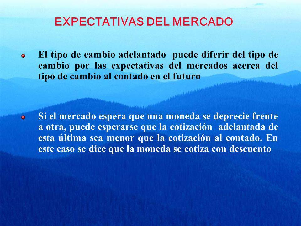 EXPECTATIVAS DEL MERCADO El tipo de cambio adelantado puede diferir del tipo de cambio por las expectativas del mercados acerca del tipo de cambio al