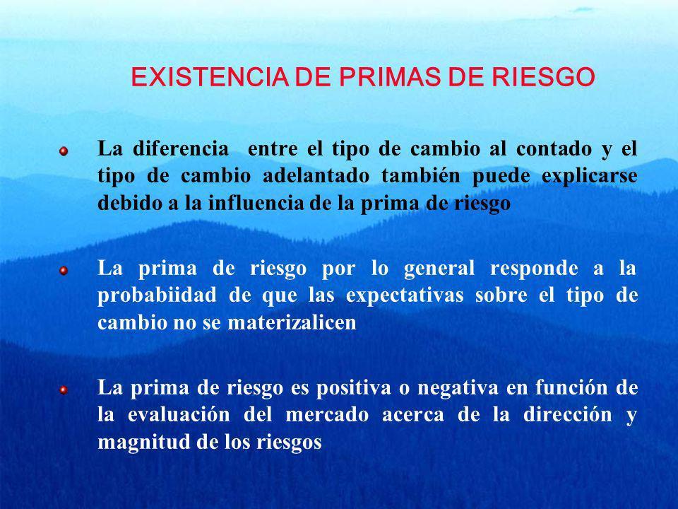 EXISTENCIA DE PRIMAS DE RIESGO La diferencia entre el tipo de cambio al contado y el tipo de cambio adelantado también puede explicarse debido a la in