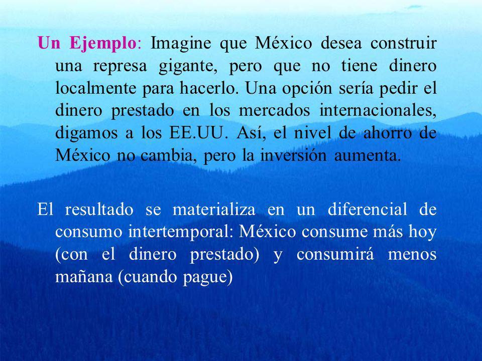 Un Ejemplo: Imagine que México desea construir una represa gigante, pero que no tiene dinero localmente para hacerlo. Una opción sería pedir el dinero