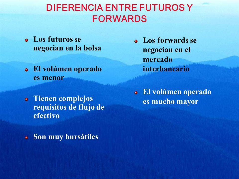 DIFERENCIA ENTRE FUTUROS Y FORWARDS Los futuros se negocian en la bolsa El volúmen operado es menor Tienen complejos requisitos de flujo de efectivo S