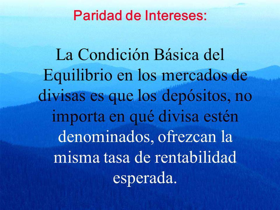 Paridad de Intereses: La Condición Básica del Equilibrio en los mercados de divisas es que los depósitos, no importa en qué divisa estén denominados,