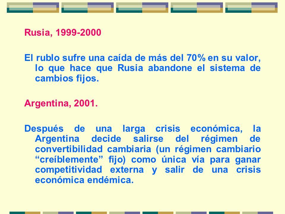 Rusia, 1999-2000 El rublo sufre una caída de más del 70% en su valor, lo que hace que Rusia abandone el sistema de cambios fijos. Argentina, 2001. Des