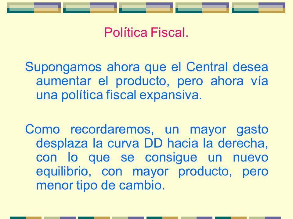 Política Fiscal. Supongamos ahora que el Central desea aumentar el producto, pero ahora vía una política fiscal expansiva. Como recordaremos, un mayor